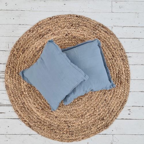 Almohadón Rolete Gasa azul